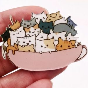 Cats in a Teacup Pin